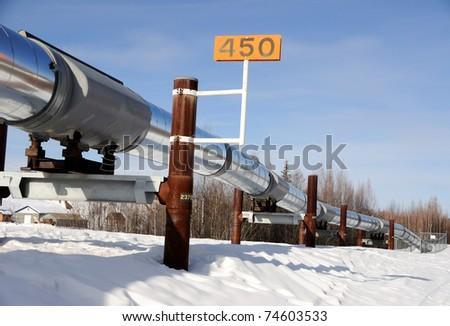 Alaska Oil Pipeline in Winter near Fairbanks - stock photo