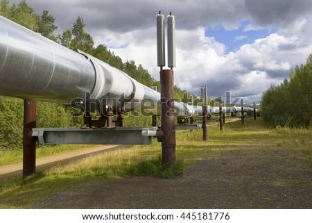 Alaska oil pipeline near Fairbanks, Alaska  - stock photo