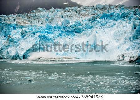 Alaska prince william sound glacier cruise huge panorama view - stock photo
