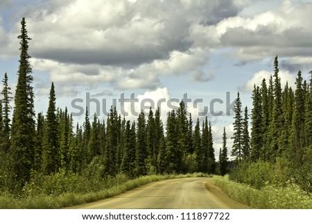 Alaska, raw road to Arctic Circle - stock photo