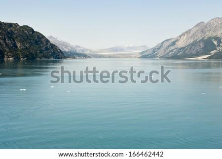 Alaska Travel Destination National Park Glacier / Glacier Bay National Park and Preserve - Travel Destination - stock photo