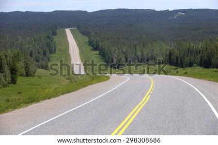 Alaskan Highway - stock photo