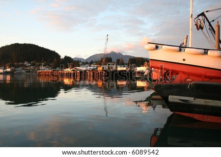 Alaskan Seine Skiff at Sunset - stock photo