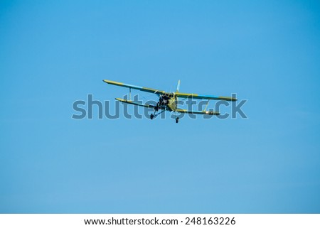 ALBACETE, SPAIN-JUN 23:  Aircraft Antonov An-2 taking part in a exhibition on the open day of the airbase of Los Llanos on Jun 23, 2013, in Albacete, Spain