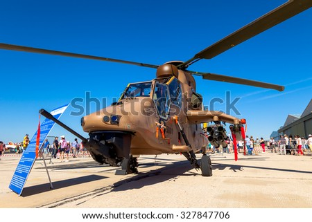 ALBACETE, SPAIN-JUN 23:  Helicopter Eurocopter EC665 Tiger taking part in a static exhibition on the open day of the airbase of Los Llanos on Jun 23, 2013, in Albacete, Spain - stock photo