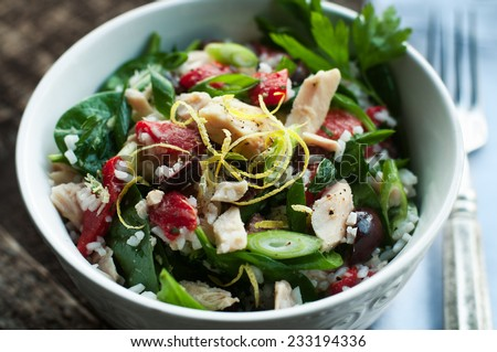 Albacore tuna salad with rice and vegetables - stock photo