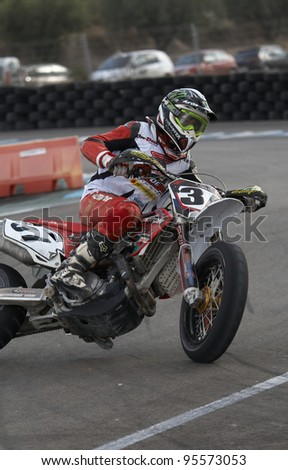 ALBAIDA, SPAIN - OCTOBER 23: Javier Pinedo pilot of motorcycling in the Spanish championship of supermotard on October 23, 2011, Albaida, Spain