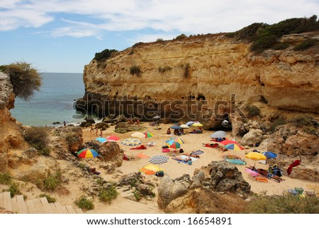 Albandeira beach on atlantic coast, Algarve, Portugal
