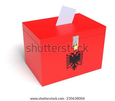 Albania ballot box with Albania Flag. Isolated on white background. - stock photo