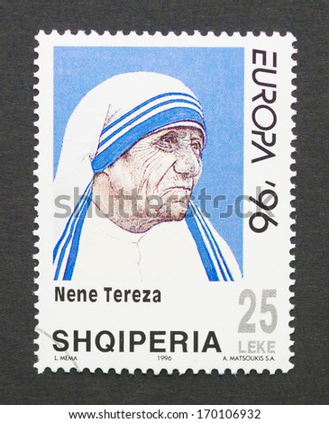 ALBANIA - CIRCA 1996: a postage stamp printed in Albania showing an image of Nobel Peace Prize winner Mother Teresa, circa 1996. - stock photo