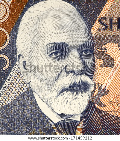 ALBANIA - CIRCA 2001: Ismail Qemali (1844-1919) 500 Leke 2001 Banknote from Albania. Leader of the Albanian national movement and founder of the modern Albanian state.