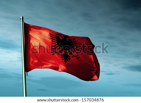 Albania flag waving in the evening - stock photo