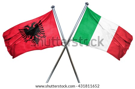 Albania flag with Italy flag, 3D rendering