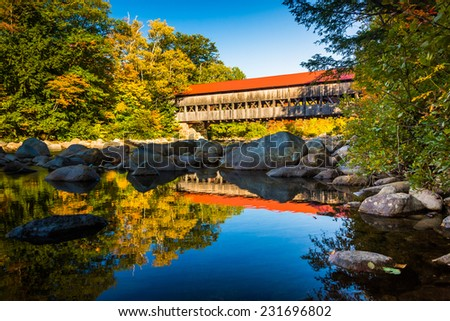 Albany Covered Bridge, along the Kancamagus Highway in White Mountain National Forest, New Hampshire. - stock photo