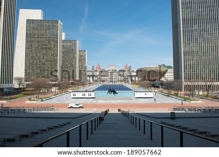 ALBANY, NEW YORK - APRIL 21ST, 2014 : The Empire State Plaza is a complex of several state government buildings in downtown Albany, NY on april 21st, 2014.It was built between 1959 and 1976. - stock photo