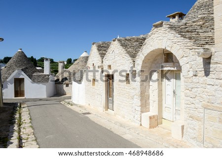 Alberobello, Italy 21 June 2016: Beautiful town of Alberobello with trulli houses, Unesco world heritage on Puglia, southern Italy