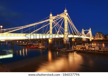 Albert bridge in Central London at night