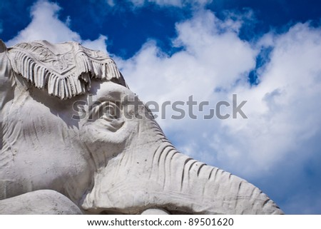 Albert Memorial in Hyde Park, Kensington, London: detail of the statue group representing the continent of Asia, close-up on the elephant. - stock photo