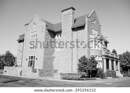 Alberta Government House in Edmonton Canada in black and white