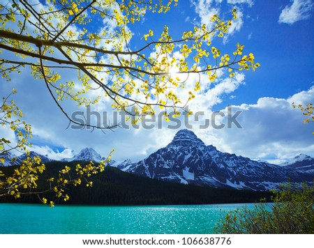 Alberta Landscape Canada Mountains, Aspen Trees and Lake, Icefields Parkway, Alberta Canada - stock photo