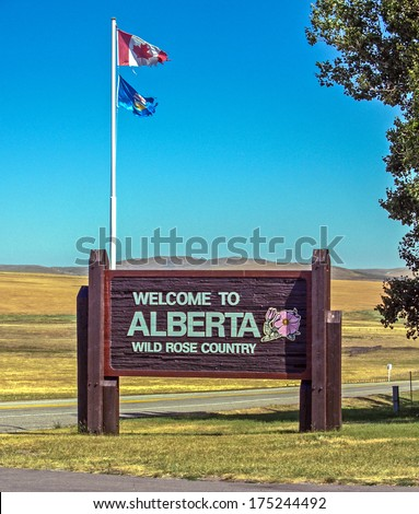Alberta welcome sign at the province boundary with the State of Montana - stock photo