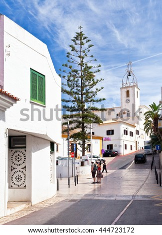 ALBUFEIRA, ALGARVE, PORTUGAL - September 24, 2012: Old town Albufeira, Miguel Bombarda street, Algarve, Portugal - stock photo