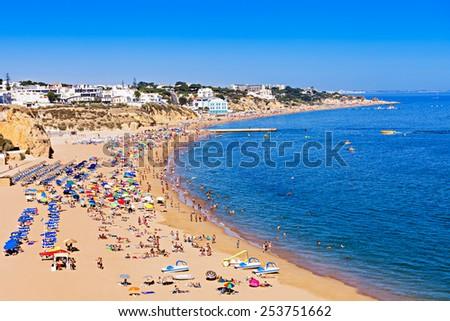 Albufeira city beach, Algarve region, south Portugal - stock photo