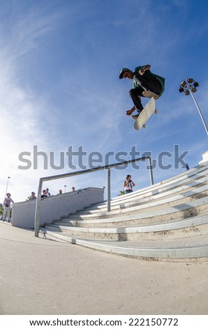 ALBUFEIRA, PORTUGAL - OCTOBER 5, 2014: Anibal Martins during the 3rd Stage DC Skate Challenge by Fuel TV.