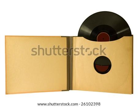 ALBUM WITH VINTAGE RECORDS - stock photo