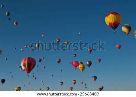 Albuquerque International Balloon Fiesta is a yearly balloon fiesta that takes place in Albuquerque, New Mexico, USA during early October. - stock photo