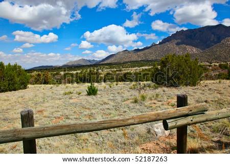 Albuquerque landscape with the Sandia mountains - stock photo