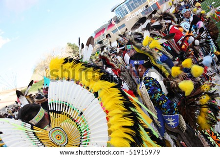ALBUQUERQUE, NEW MEXICO-APRIL 24:  The Gathering of Nations is the largest Indian Pow Wow in North America  and it was held at the University of New Mexico on April 24, 2010 in Albuquerque . - stock photo