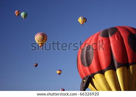 ALBUQUERQUE, NEW MEXICO - OCTOBER 9: Balloons fly over Albuquerque on October 9, 2010 in Albuquerque, New Mexico. Albuquerque balloon fiesta is the biggest balloon event in the the world. - stock photo