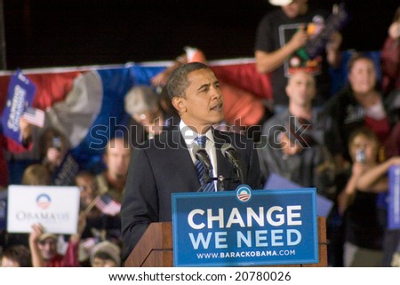 ALBUQUERQUE – OCT 25: US Presidential candidate, Barack Obama, speaks at a rally at the University of New Mexico on October 25, 2008 in Albuquerque. - stock photo