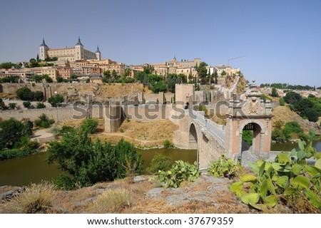 Alcantara bridge, Toledo, Spain - stock photo