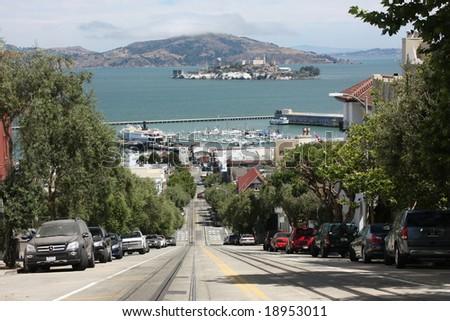 alcatraz from san francisco - stock photo