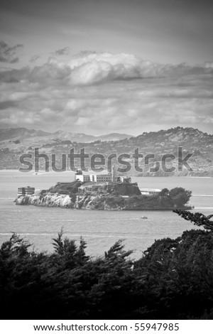 Alcatraz in ominous black and white. - stock photo