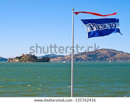 Alcatraz Island from Pier 39 in San Francisco California USA - stock photo