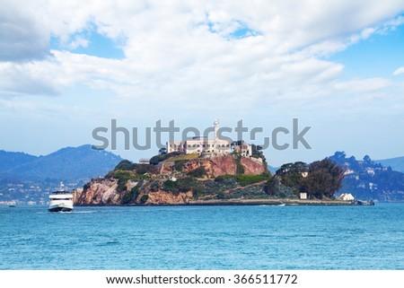 Alcatraz island from San Francisco bay - stock photo