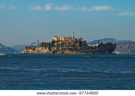 Alcatraz Island in San Francisco Bay California - stock photo