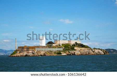 Alcatraz island in San Francisco bay, California with former prison ruins