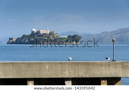 Alcatraz Island in San Francisco, California in United States of America - stock photo