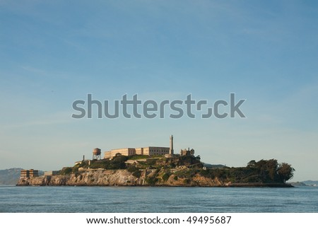 Alcatraz Island is a small island located in the middle of San Francisco Bay in California - stock photo