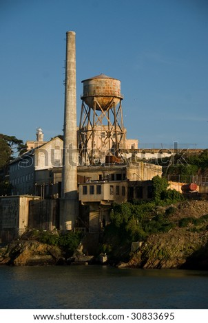 Alcatraz Island, Smoke Stack and Water Tower, San Francisco Bay