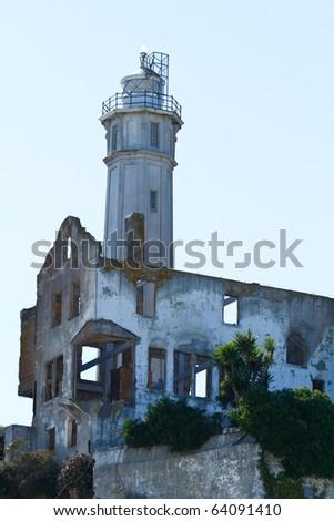 Alcatraz lighthouse - stock photo