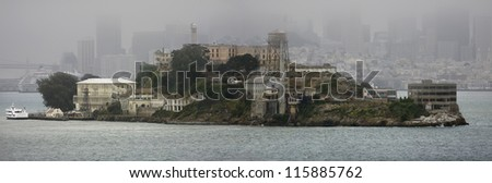 Alcatraz, panoramic view in foggy weather - stock photo