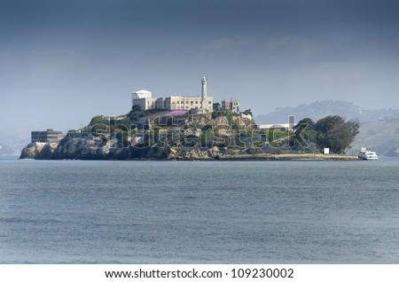 Alcatraz prison on the sea of San Francisco , California - stock photo