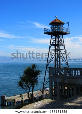 Alcatraz Watchtower, San Francisco, USA - stock photo