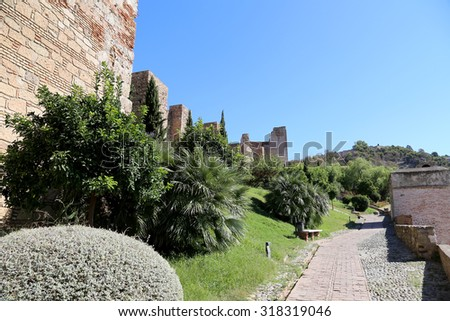 Alcazaba castle on Gibralfaro mountain. Malaga, Andalusia, Spain. The place is declared UNESCO World Heritage Site