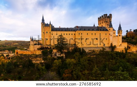 Alcazar of Segovia in  november day. Castile and Leon, Spain